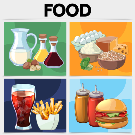 Cartoon food square concept with milk nuts soy sauce olive oil eggs cereals broccoli cheese soda french fries ketchup mustard burger isolated vector illustration Illustration