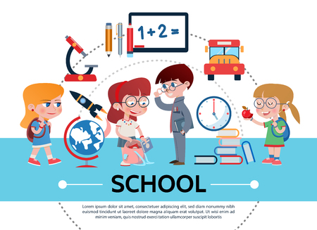 Flat school concept with pupils microscope rocket globe pencil marker pen board bus books clock isolated vector illustration