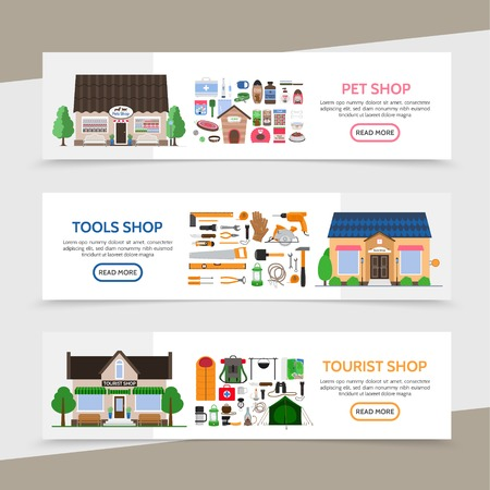 Flat stores horizontal banners with products equipment and accessories for sale in pets tools tourist shops vector illustration