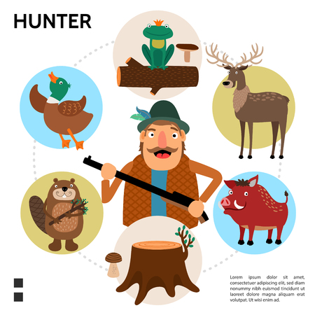 Flat hunting round concept with hunter holding gun beaver duck deer frog wild boar tree stump isolated vector illustration