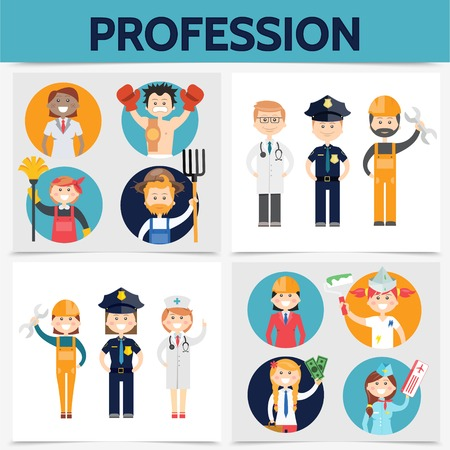 Flat professions square concept with stylist sportsman janitor farmer doctor police officer builder engineer painter accountant stewardess isolated vector illustration