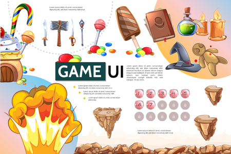 Cartoon mobile game infographic concept with witch elements sweet products islands in air explosion sword axe spear level selection buttons vector illustration Illustration