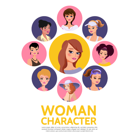 Flat woman characters avatars concept with different hairstyle and fashion style for various situations in colorful circles isolated vector illustration Illustration