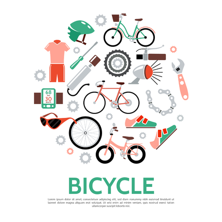 Flat bicycle concept with sportswear bike bell chain sneaker wrench pump glasses screwdriver speedometer helmet wheel isolated vector illustration