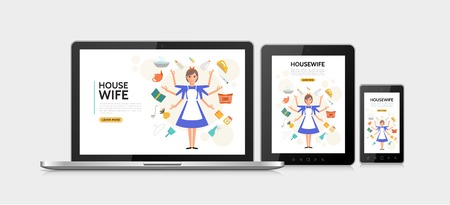 Flat housewife adaptive design concept with super mom doing different household affairs on mobile tablet laptop screens isolated vector illustration