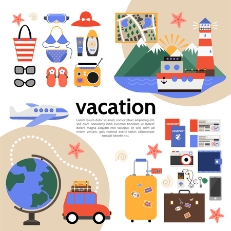 Flat summer vacation composition with cruise ship airplane and car travel map baggage wallet radio slippers swimsuit tickets camera sunglasses sunscreen cream vector illustration