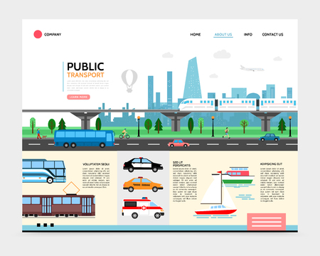 Flat city transport landing page template with subway tram bus boat police ambulance taxi cars urban road traffic vector illustration