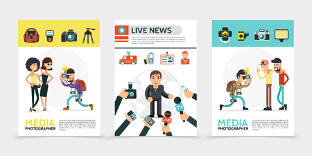 Flat mass media posters with paparazzi photographer professional equipment correspondent news car journalist id card reporters hands holding camera microphones dictaphones vector illustration