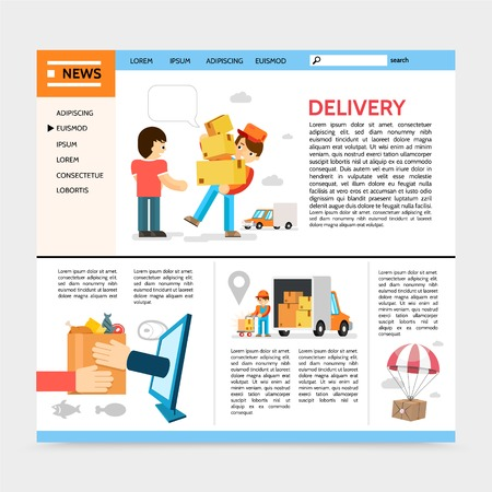 Flat delivery service website template with courier deliver goods to client package flying on parachute e-commerce vector illustration