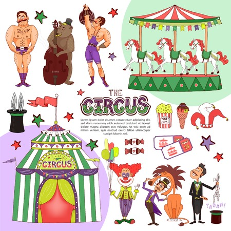 Flat colorful circus template with clown holding balloons magician bear playing cello animal tricks strongmen carousel tent candies tickets popcorn isolated vector illustration