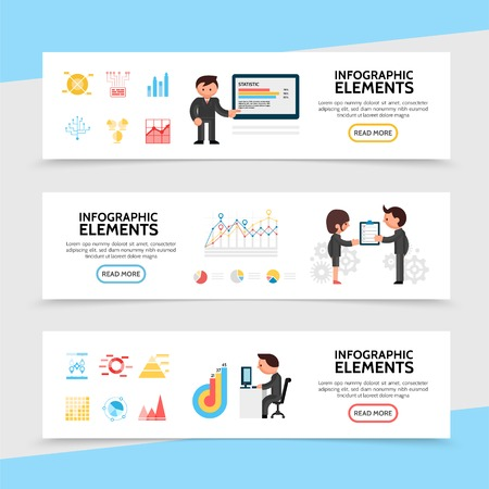 Flat infographic horizontal banners with diagrams and graphs for statistic report projects visualization business people in different situations vector illustration