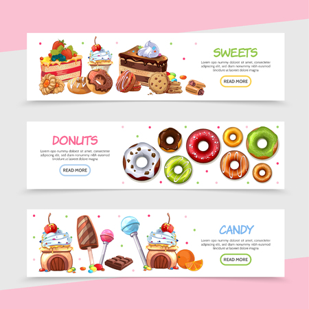 Cartoon sweet products horizontal banners with bright candies cakes ice cream chocolate bar lollipops cookie donuts with different ingredients vector illustration Illustration