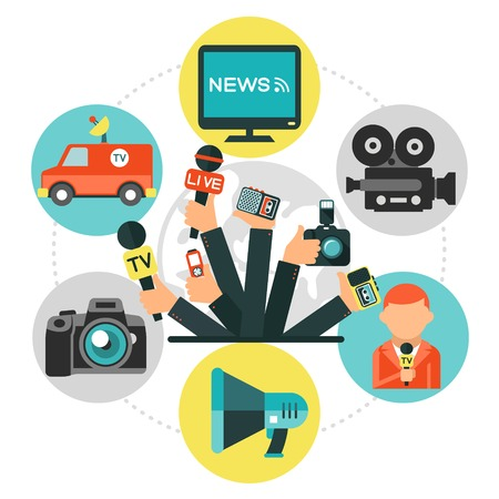 Flat journalism round concept with news car reporter tv set video photo cameras megaphone journalists hands holding microphones and dictaphones isolated vector illustration