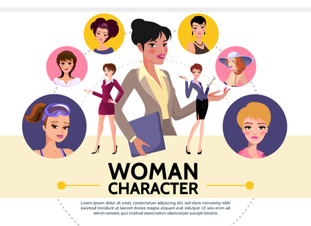 Flat woman characters avatars collection of ladies wearing various clothes with different hairstyle isolated vector illustration