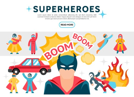 Flat superheroes elements set with heroes in heroic costumes perform different actions comic speech bubbles and fire vector illustration Illustration