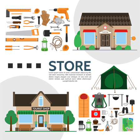 Tools and tourist shops elements composition with different products equipment and accessories in flat style vector illustration