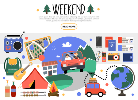 Flat weekend elements set with car traveling camping radio map guitar backpack barbecue bonfire globe camera purse tickets passports audio player vector illustration