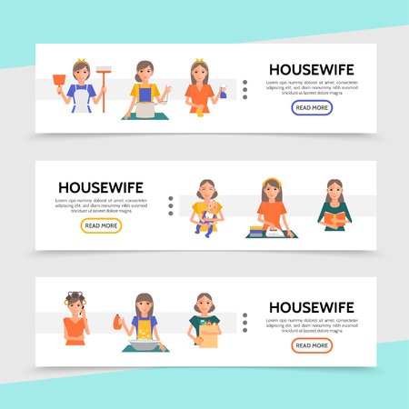 Flat housewife life horizontal banners with cooking shopping ironing cleaning washing affairs make up procedures and mother cares of baby vector illustration