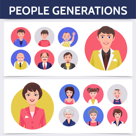 Flat people aging process template with different generations of man and woman for avatars isolated vector illustration Illustration