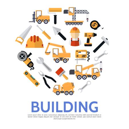 Okrągła koncepcja płaskiego budownictwa z pojazdami budowniczymi i sprzętem budowlanym na białym tle ilustracji wektorowych