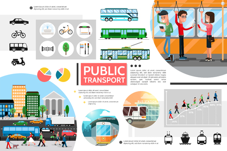 Flat public transport elements composition with bus trolleybus subway bicycle light traffic passengers city tram scooter ship diagrams vector illustration Illustration