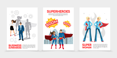 Flat superhero characters posters with super heroes in costumes and capes speech bubbles Boom inscriptions cityscape heroic business people isolated vector illustration
