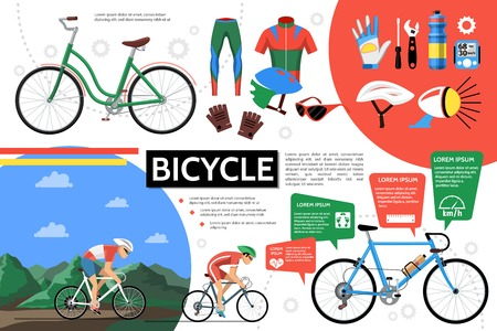 Flat bicycle infographic template with cyclists bikes sportswear helmet glasses gloves bell screwdriver wrench bottle gear speedometer vector illustration