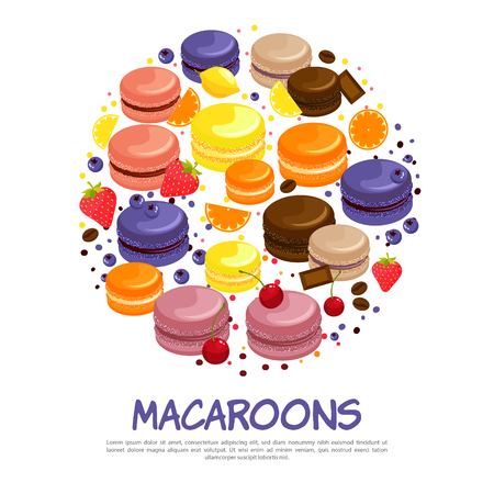 Cartoon colorful tasty macaroons round concept with orange bilberry lemon chocolate strawberry coffee flavors isolated vector illustration Illustration