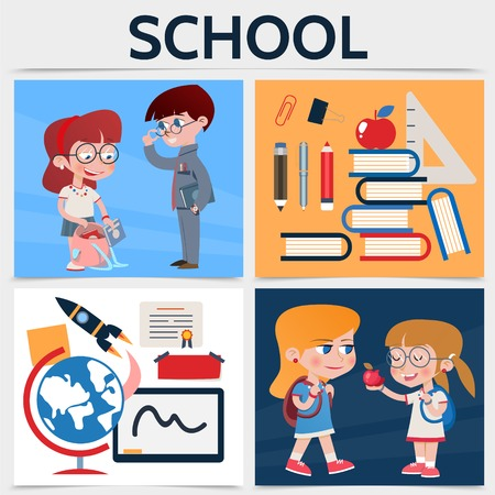 Flat school square concept with boys girls globe rocket board certificate stickers pencil marker pen ruler apple books clip isolated vector illustration
