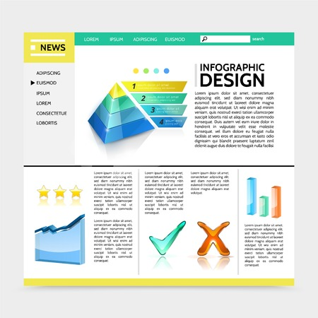 Realistic infographic design website template with marketing pyramid graph colorful bars check marks ribbon banners text vector illustration
