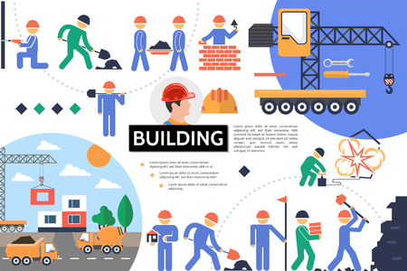Flat building infographic template with construction site builders industrial works and vehicles vector illustration Illustration