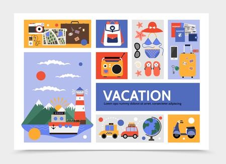 Flat summer travel infographic template with cruise ship taxi car scooter bag map camera radio swimsuit sunglasses slippers tickets passport globe vector illustration