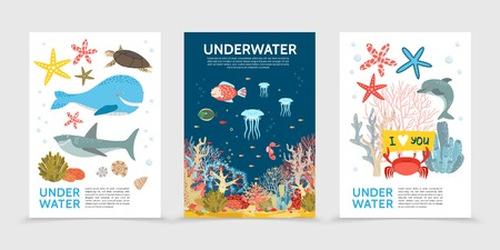 Flat colorful underwater life brochures with fish whale turtle shark jellyfish sea horse starfish crab dolphin corals seaweed isolated vector illustration