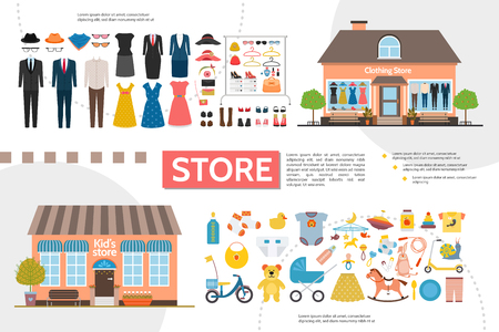 Flat clothing and kids shops infographics with women and men clothes accessories child toys garment vector illustration