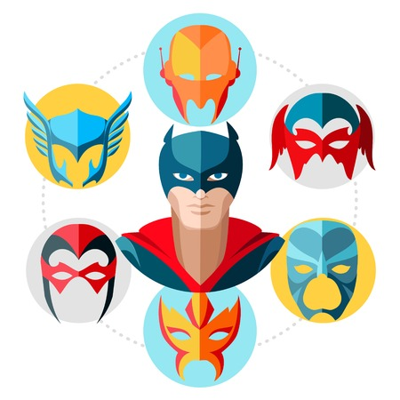 Flat superhero concept with super hero masks in colorful circles isolated vector illustration