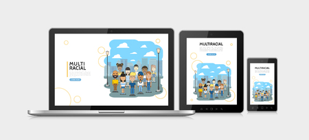 Flat multiracial people adaptive design concept with multiethnic multicultural boys and girls on cityscape on laptop tablet mobile screens isolated vector illustration