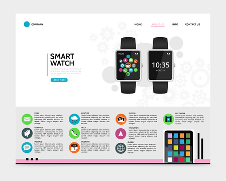 Flat smart watch landing page concept with widgets chat email reminder weather call calendar photo navigation global multimedia applications icons vector illustration Illustration