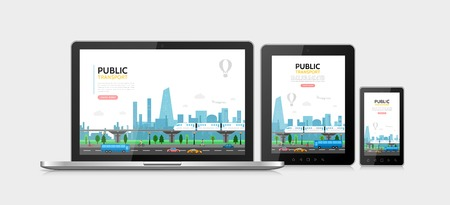 Flat public transport concept with subway cars bus airplane pedestrians urban traffic adaptive for laptop tablet phone screens isolated vector illustration