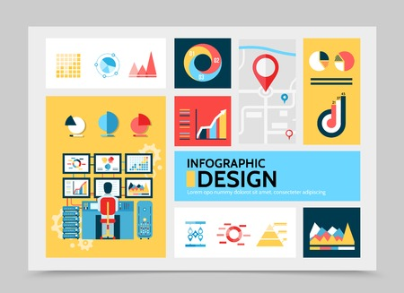 Flat business infographic template with diagrams charts graphs navigation map man working on computer vector illustration