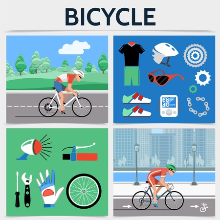 Flat bicycle square concept with cyclists riding bikes on road sportswear helmet chain speedometer gears sneakers bell wheel glove screwdriver wrench vector illustration Illustration