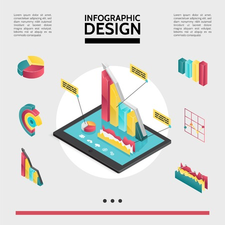 Isometric infographic elements concept with diagrams graphs and charts on tablet screen isolated vector illustration