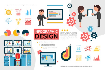 Flat infographic concept with diagrams graphs charts gears monitor map business people holding checklist man working on computer vector illustration