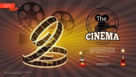 Realistic cinematography bright background with film reels camera filmstrip and cinema awards vector illustration