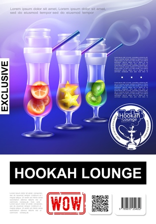 Realistic elite hookah bar poster with exclusive steam hookah in glasses with orange kiwi and star anise vector illustration
