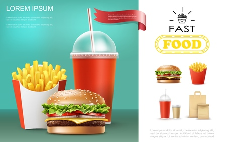 Realistic fast food template with soda and coffee cups french fries cheeseburger paper bag vector illustration Illustration