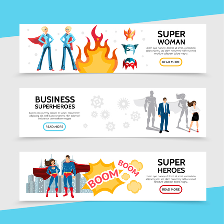 Flat superhero horizontal banners with speech bubbles cityscape brave super heroes in costumes and heroic business people vector illustration
