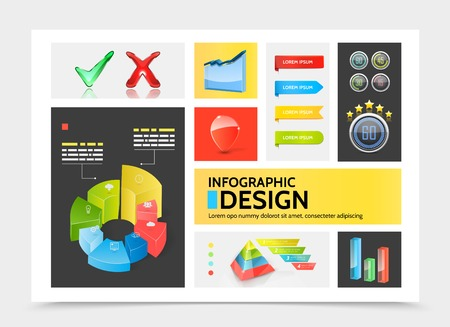 Realistic infographic elements colorful concept with charts circle diagrams ribbon banners bars pyramid business icons check marks graphs vector illustration
