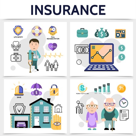 Flat insurance square colorful concept with health money property and life assurance isolated vector illustration