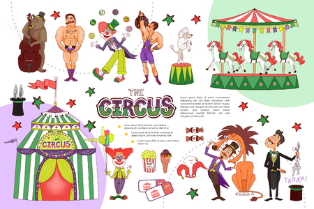 Flat circus composition with juggling clown strongmen carousel animal tricks magician tent tickets ice cream popcorn isolated vector illustration
