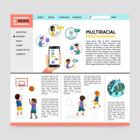 Flat multiracial communication webpage concept with relations between children of different ethnicities vector illustration